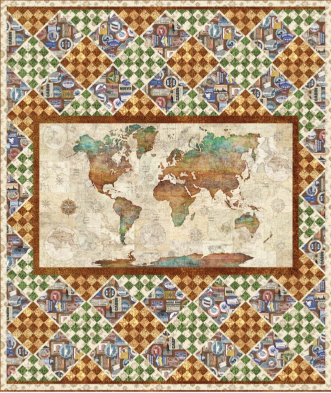 Wanderlust World - Throw quilt pattern + fabric