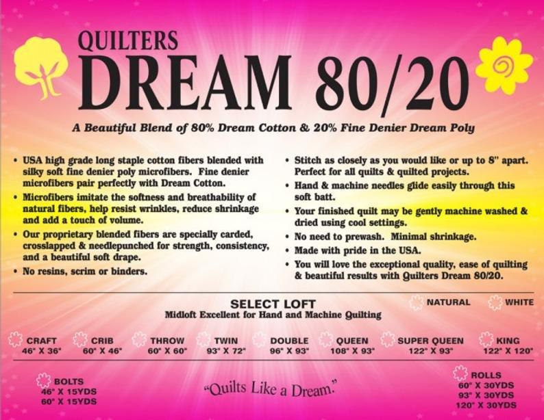 Dream 80/20 Batting Select Natural Twin 93 x 72