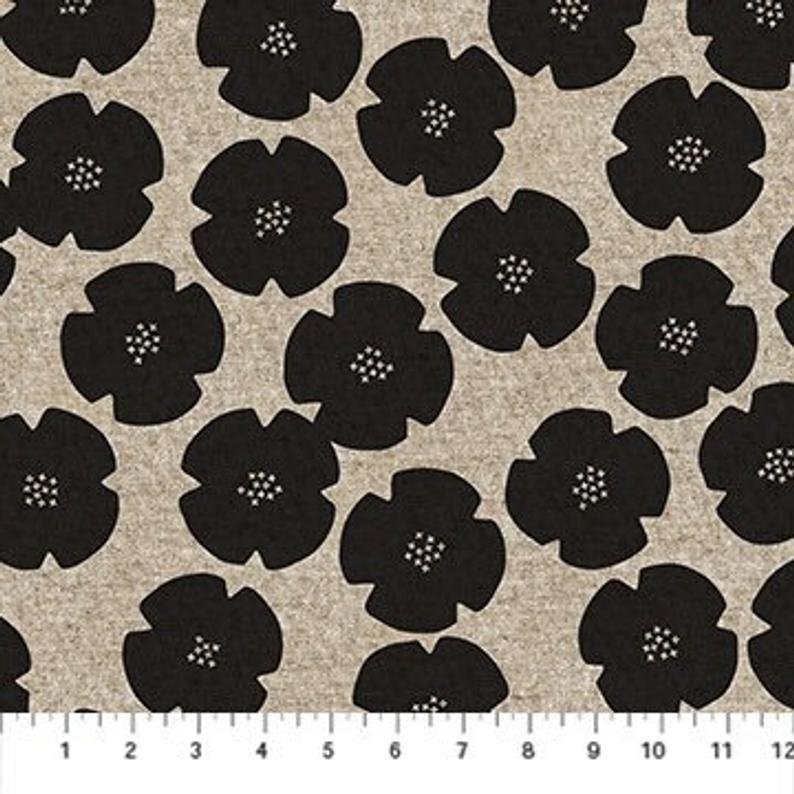 Figo Harmony Floral Black/Natural 55% Linen 45% Cotton Canvas