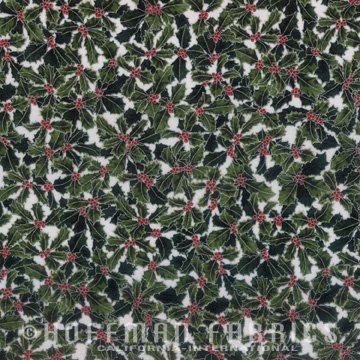 Hoffman Fabrics Winter Holly Berry Silver White