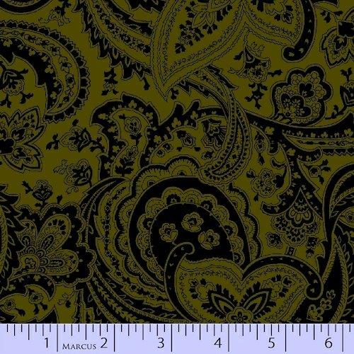 Marcus Fabrics Bonsoir Flannel Grn Paisley
