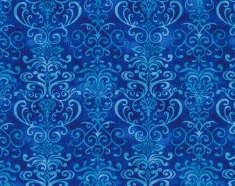 Fabri Quilt Winter Blues Damask med Blue