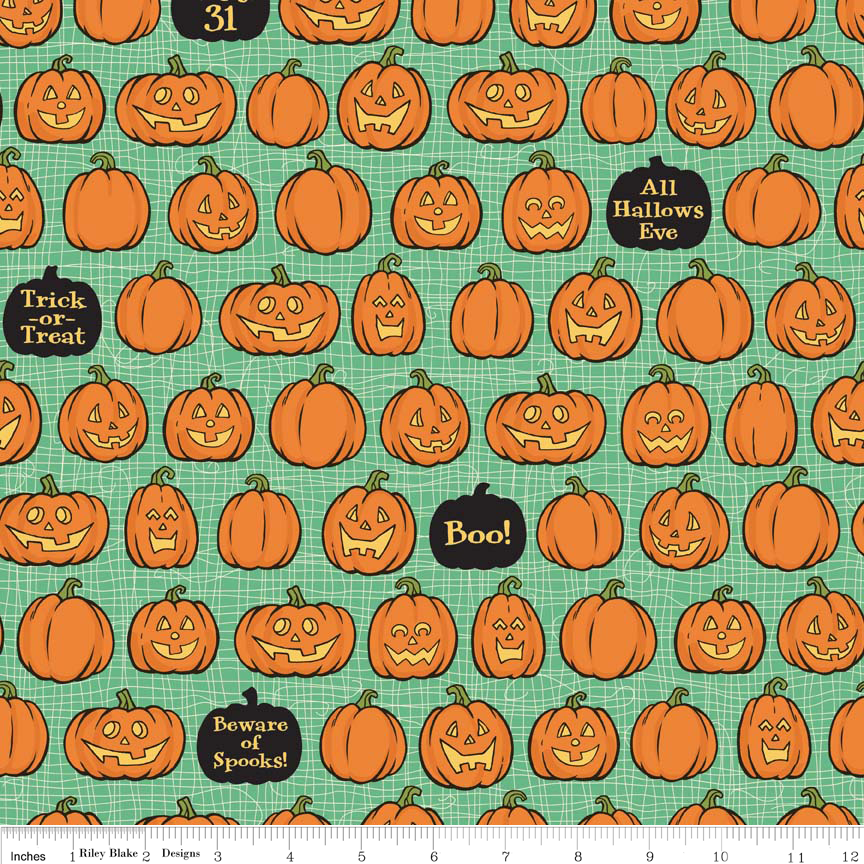 Riley Blake Witch Hazel Pumpkins on Green