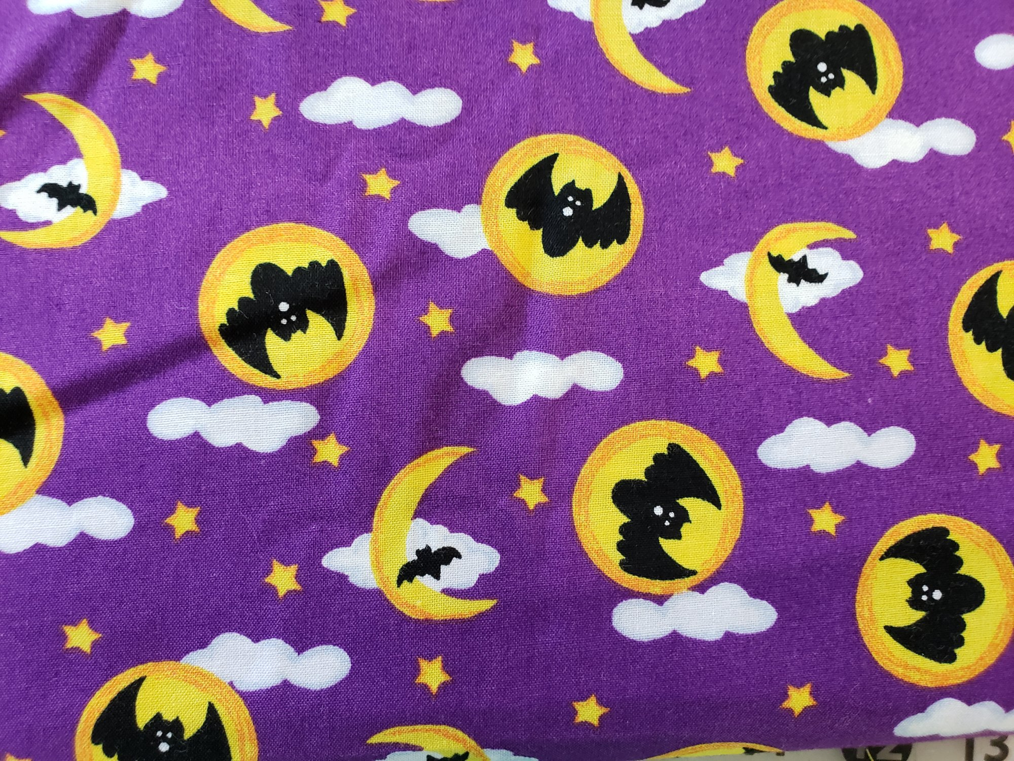 Bats and Moons on Purple Background