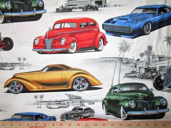 Alexander Henry Hot Rod Cars 8490A