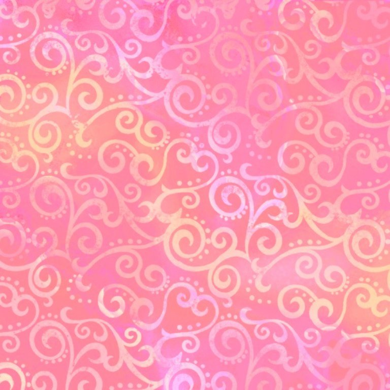 QT Ombre Scroll Pink Yellow 108 inch Wide Back