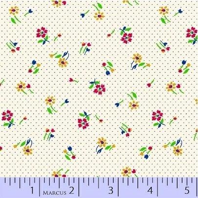 Marcus Fabrics Aunt Grace Baskets of Scraps multi flowers on cream