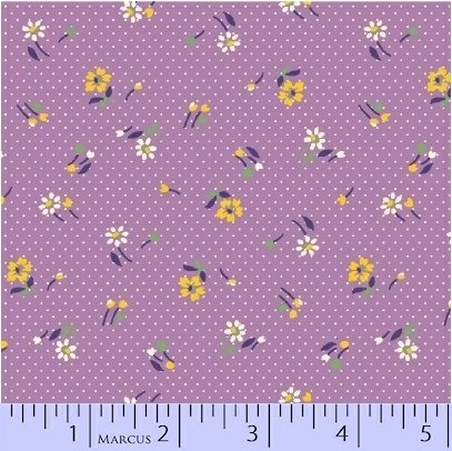 Marcus Fabrics Aunt Grace Baskets of Scraps purple flowers
