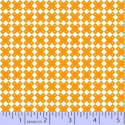 Marcus Fabrics Aunt Grace Baskets of Scraps orange crosses