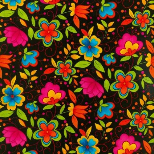 Blank quilting adeline lime orange green pink flowers on black mightylinksfo