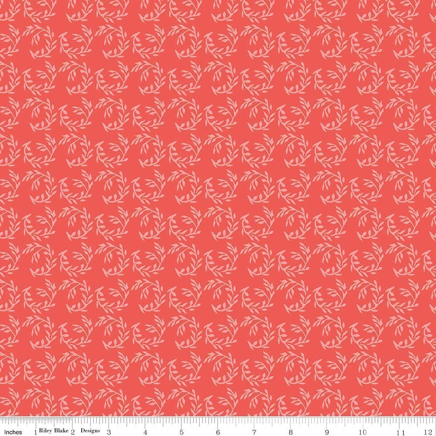 Riley Blake Apricot & Persimmon C4904 Coral Floral