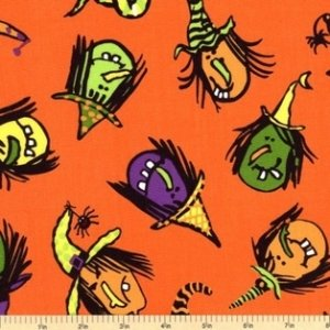 Andover Fabrics Be Witched Orange witches
