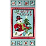 Benartex Michele D'Amore Happy Holidays Snowman Panel