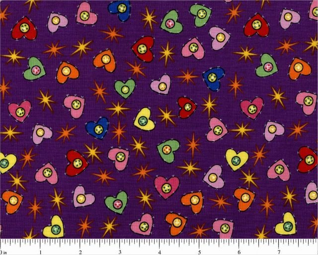 Choice Fabrics - Turtle Talk - Purple with Hearts