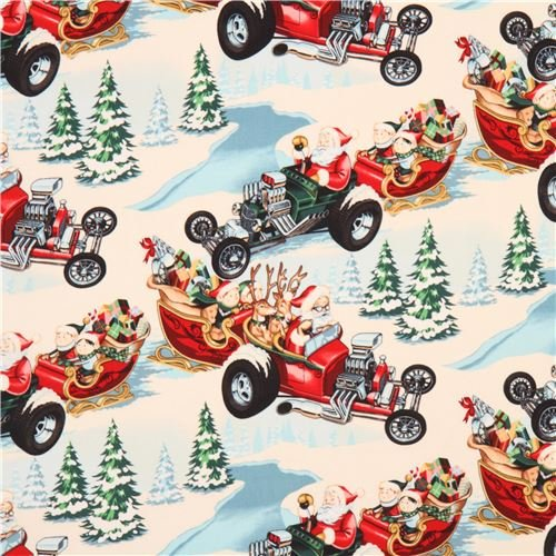 Alexander Henry fabric Santa sleigh reindeer Hot Rod Holiday