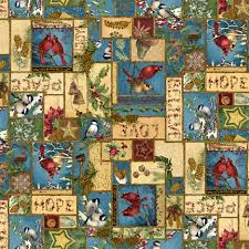 Wilmington Prints Random Thoughts About Winter Birds Anita Phillips Blue Green Red Multi