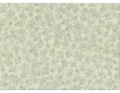 The Textile Pantry Malba Green with White Flower