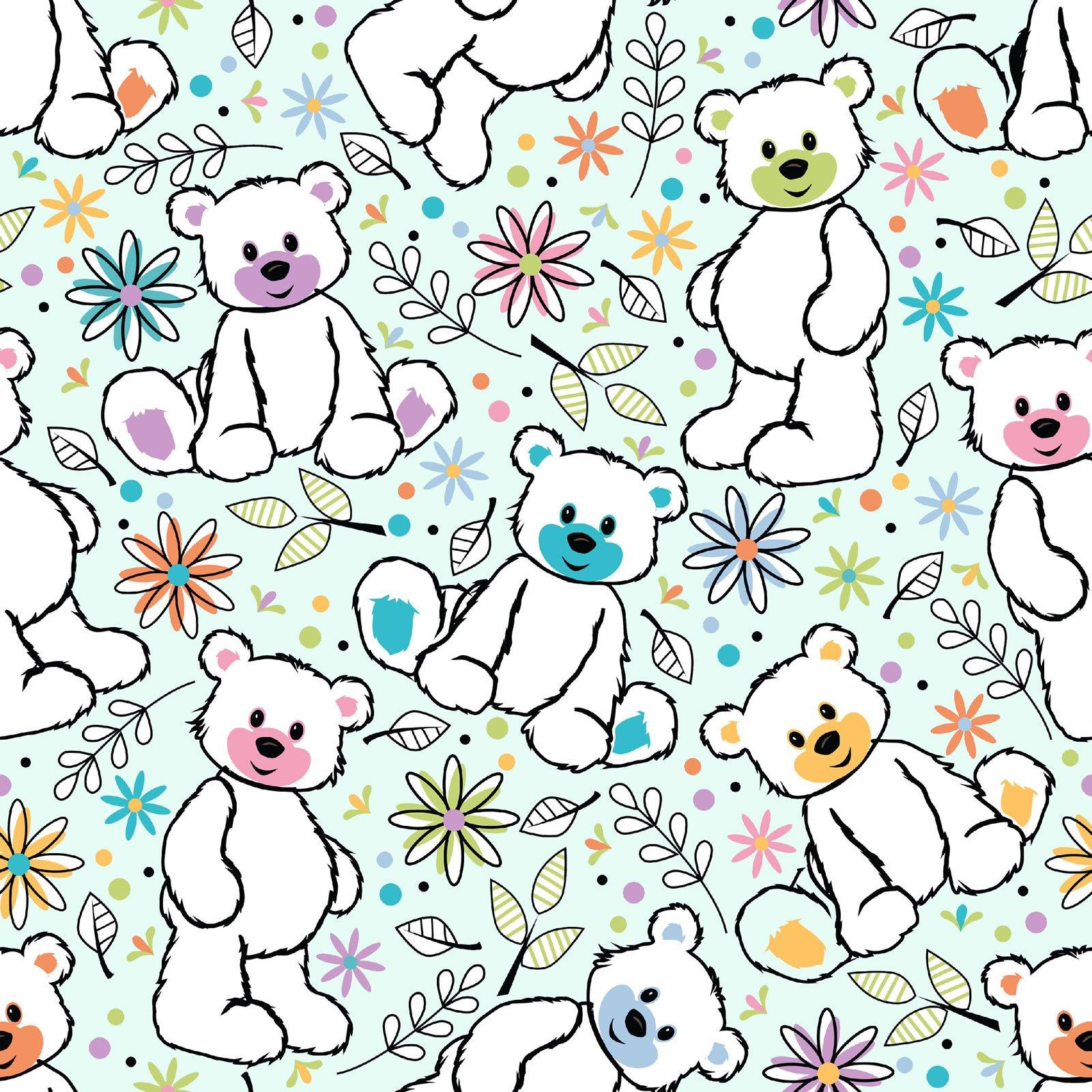 Fun Flannels Teddy Bears Aqua