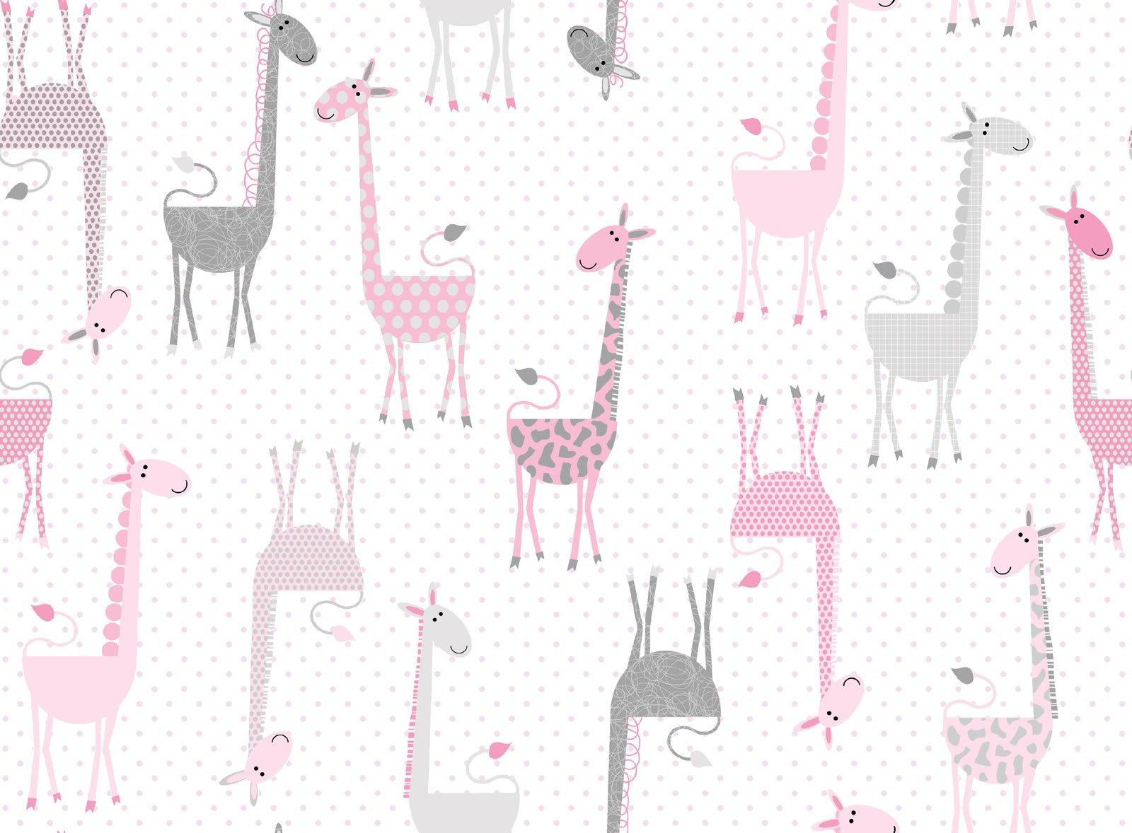 Fun Flannels Giraffes Pink