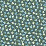Andover Mandalay Breeze Black with Metallic Blue Flowers