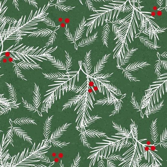 Henry Glass & Co Holiday Traditions White Red Fir/Berries on Green