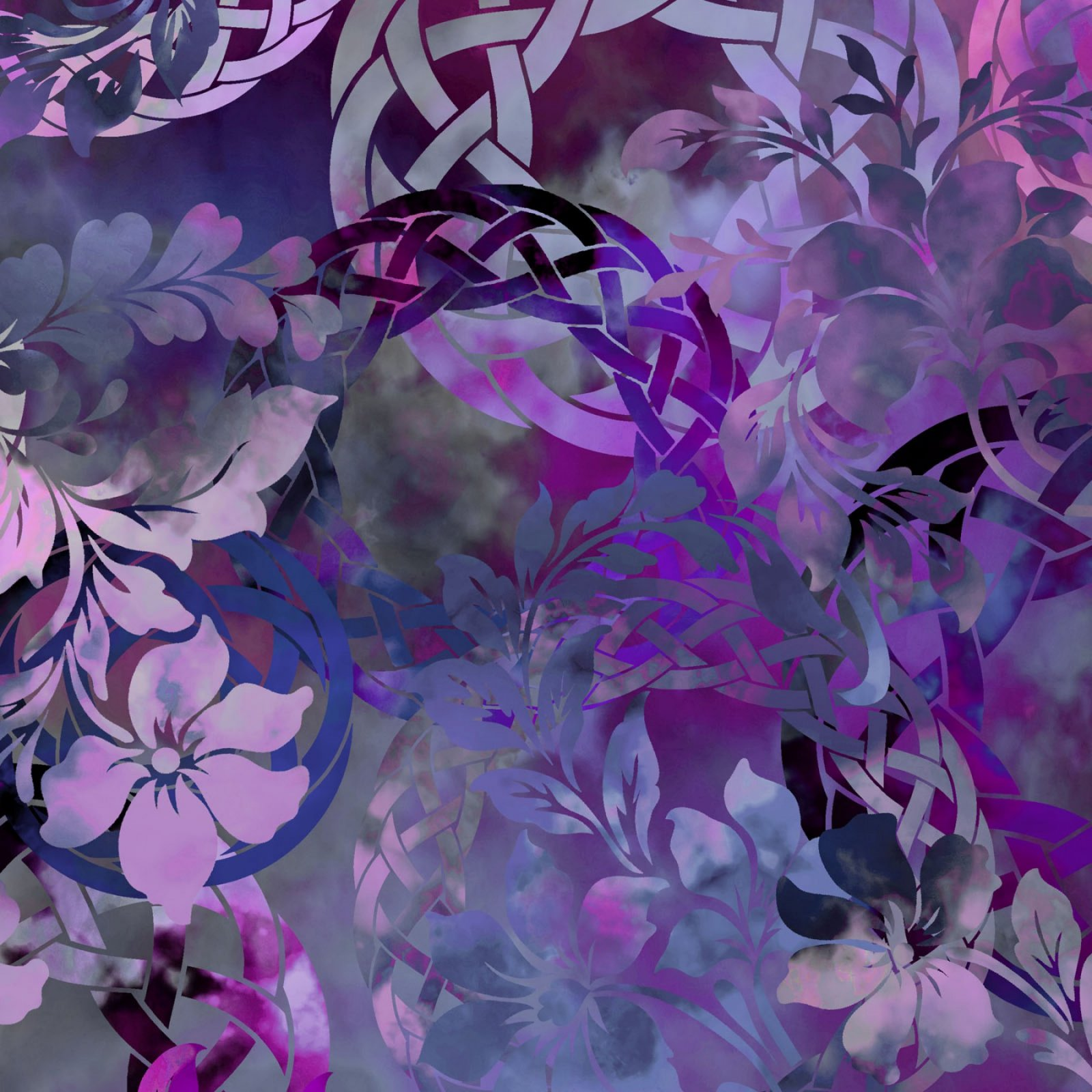 In The Beginning Diaphanous Jason Yenter Floral Collage Purple