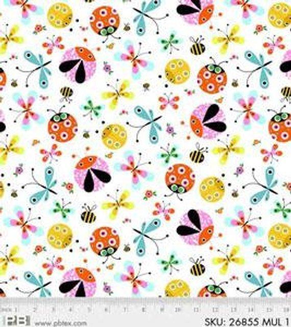 P&B Textiles Flutterby Multi Bugs