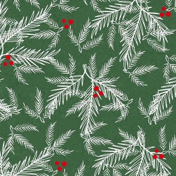 Henry Glass Holiday Traditions White Red Fir/Berries