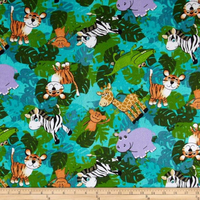 Fabric Quilt Flannel Baby Safari Animals
