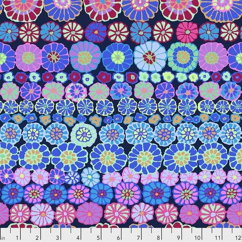 Free Spirit Row Flowers Blue Kaffe Fassett Collective