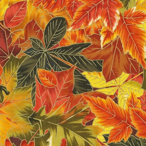 Fabriquilt Fall's Tapetrty Park Leaves Metallic