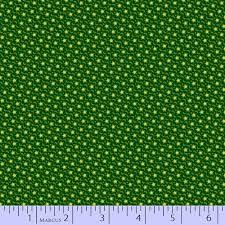Marcus Fabric Judie Rothermel Party of Twelve  Green w/Yellow Dots