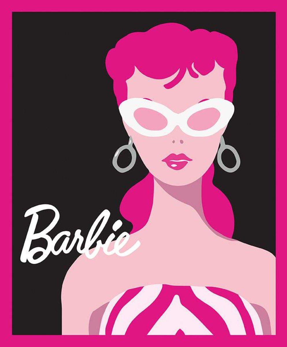 Riley Blake Barbie Doll Panel Black Background