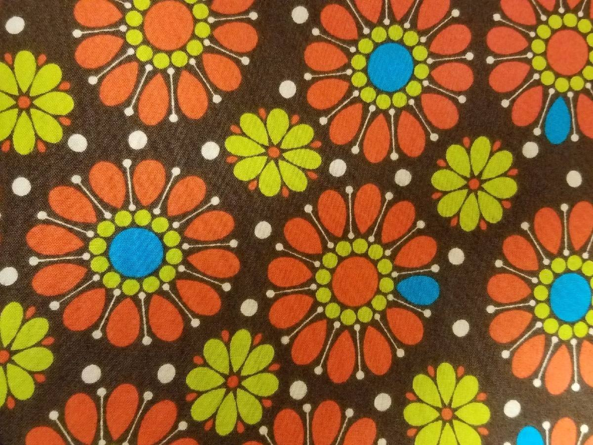 Andover Fabrics Dilly Dally Orange Flower on Brown