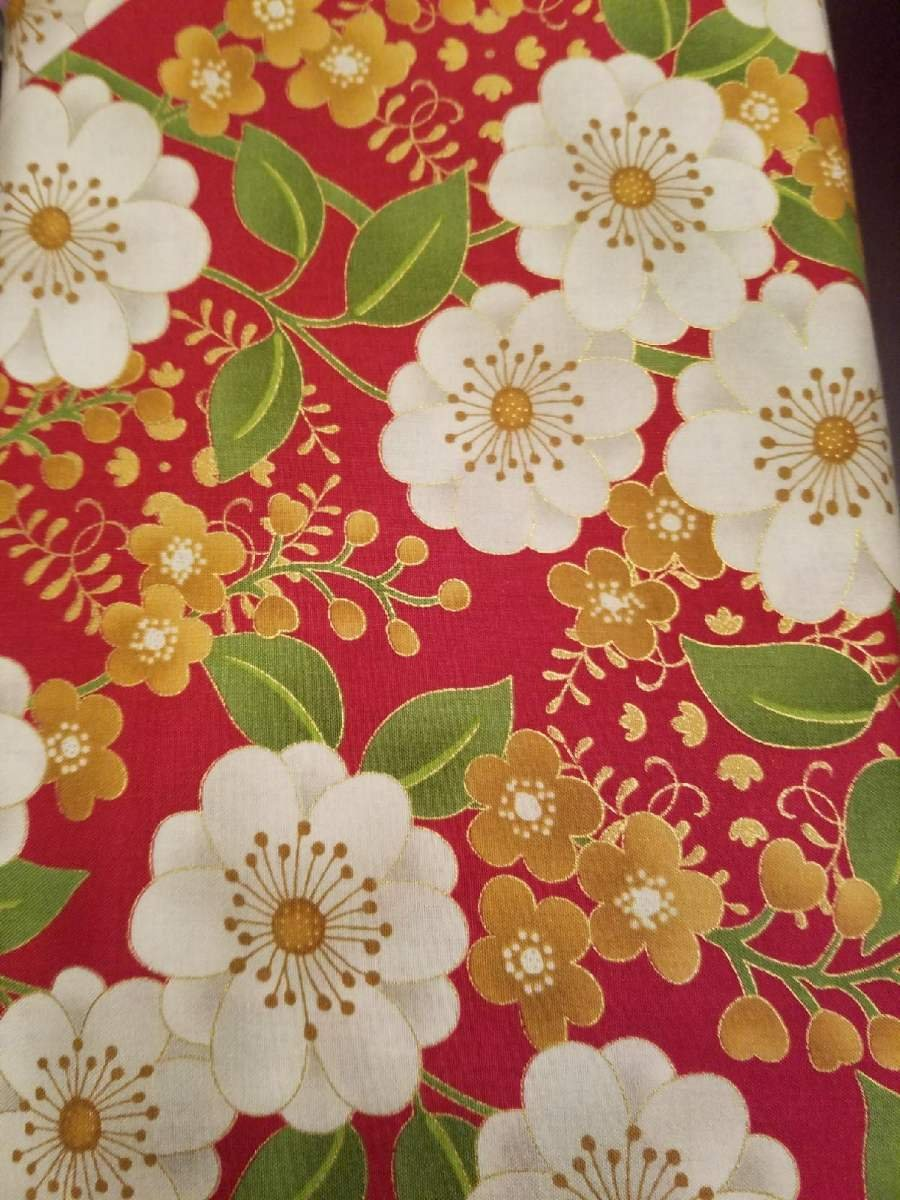 Andover Jubilee by Kathy Hall Red Floral with Gold Metallic