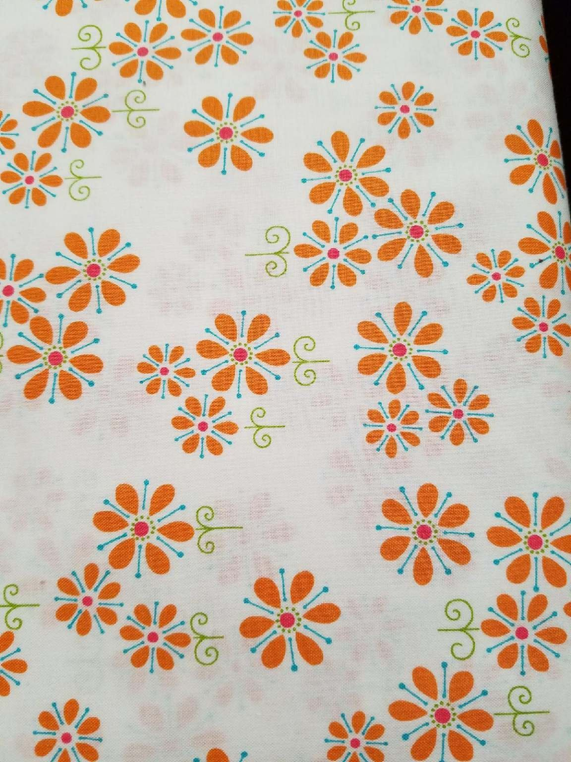 Andover Fabrics Dilly Dally by Kathy Hall Small floral print on white