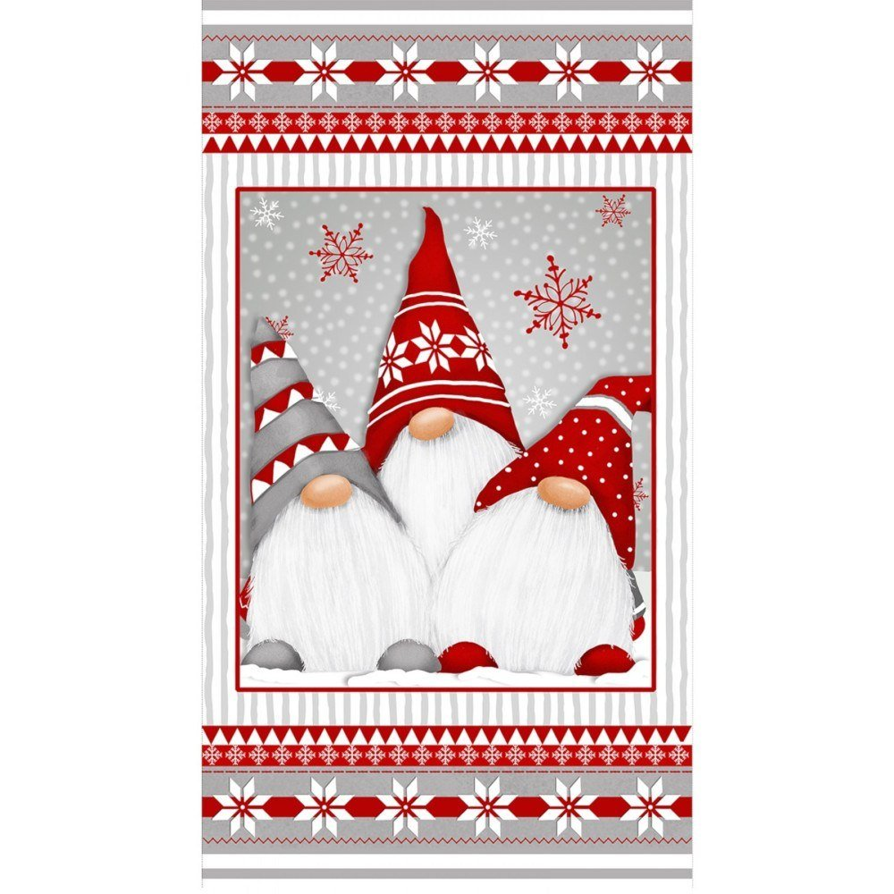 Henry Glass Flannel Winter Whimsey Gnomes Panel