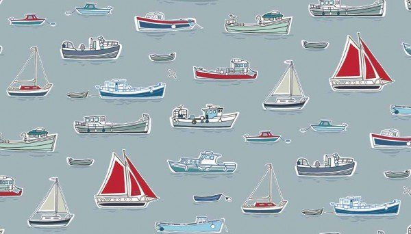 Marina Light Blue Backgournd - Boats TP1768S