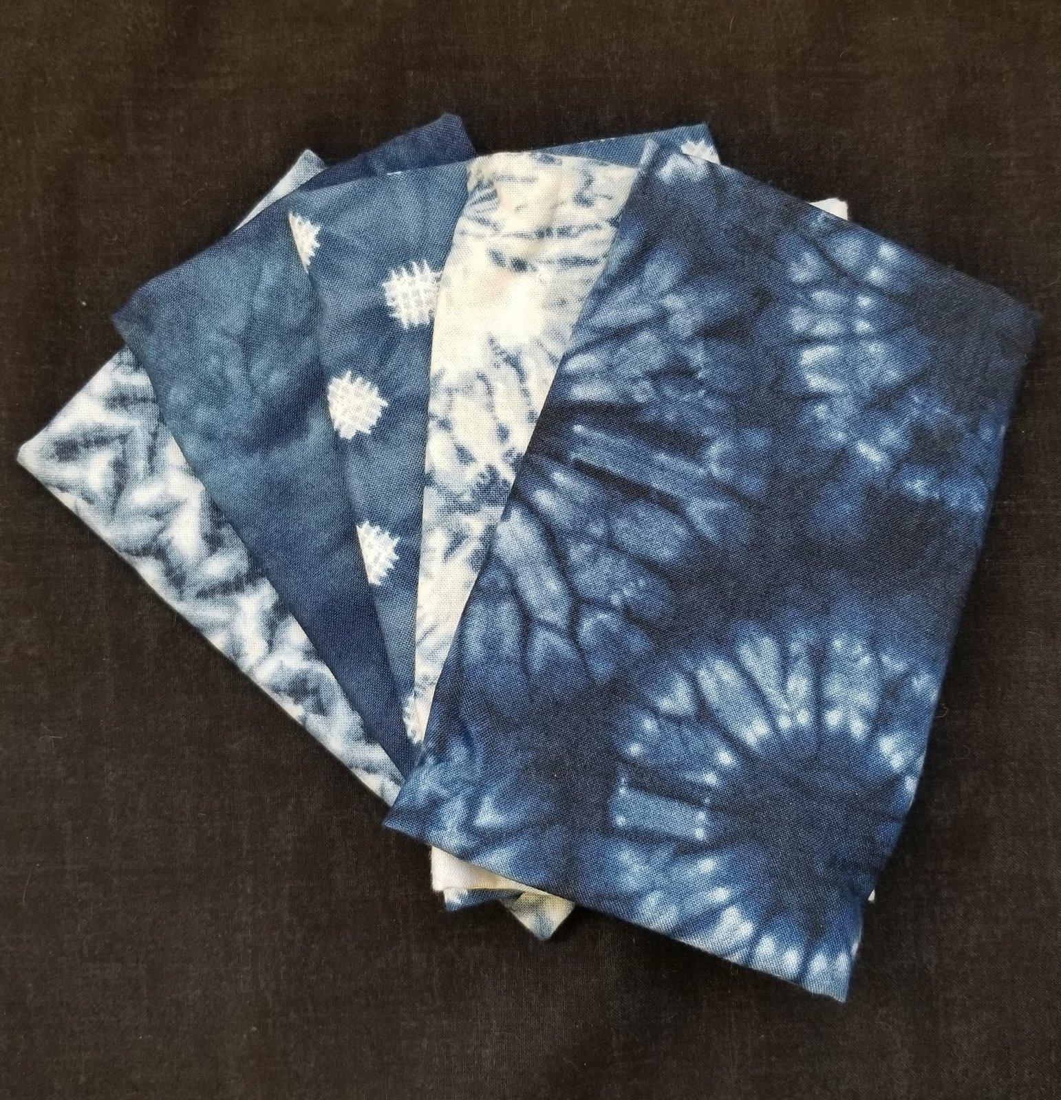 Moda Nuno Fat Quarter Bundle (5) Blue/white