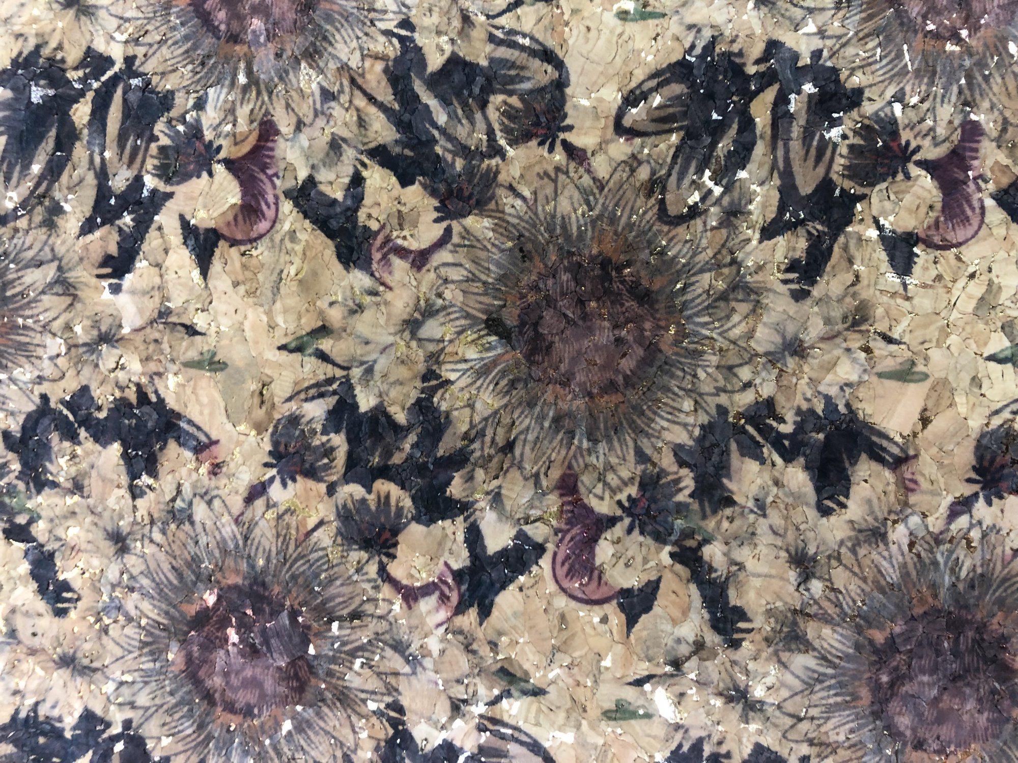 Cork - Black Daisies with Gold accent