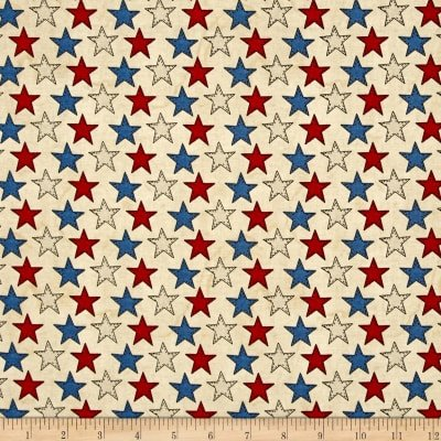 American Honor Red Cream and Blue Stars on Cream