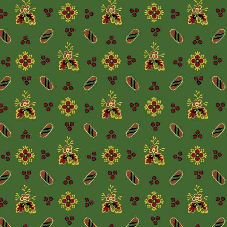 Farm House Green Floral and Dot