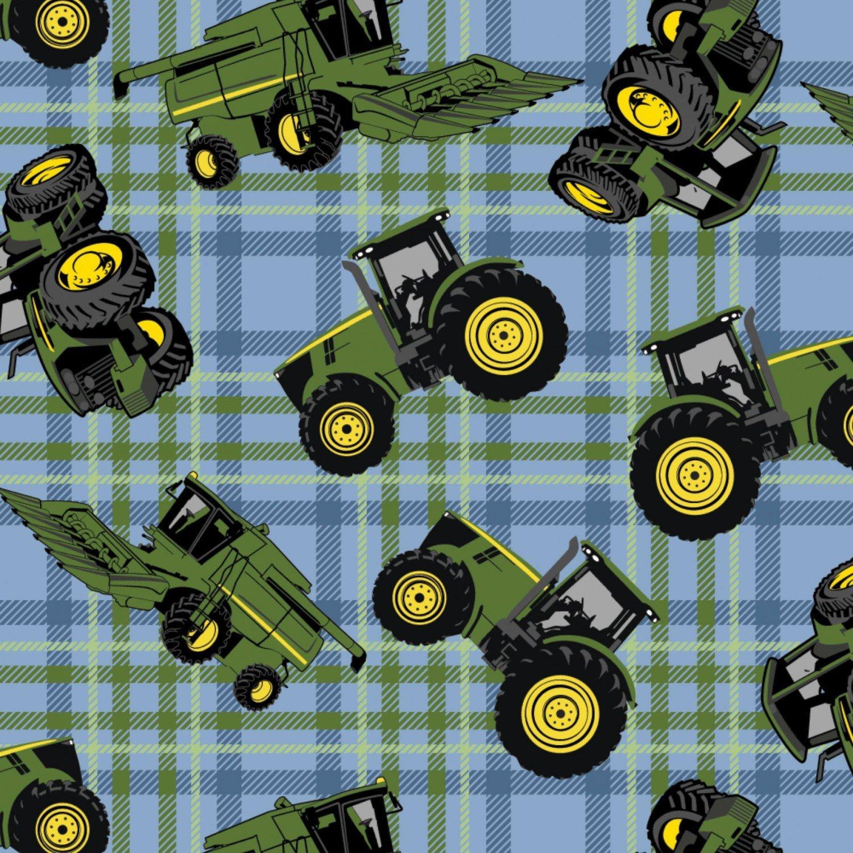 John Deere Tractors on Plaid