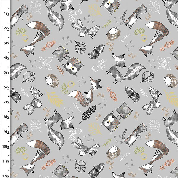 Just Friends Woodland Critters on Gray