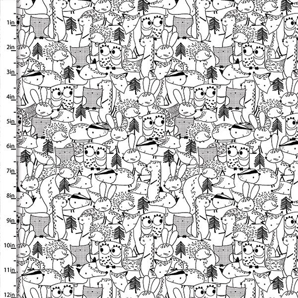 Just Friends Woodland Critters Outlined Blqack on White