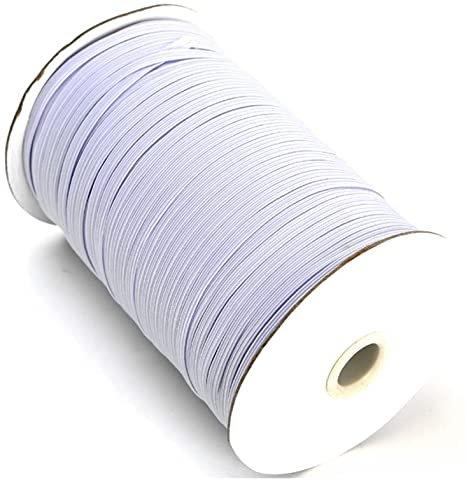 1/8'' Flat Braided Elastic - White