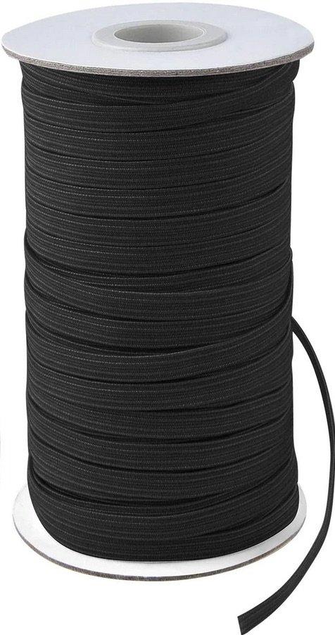 1/4'' Flat Braided Elastic - Black