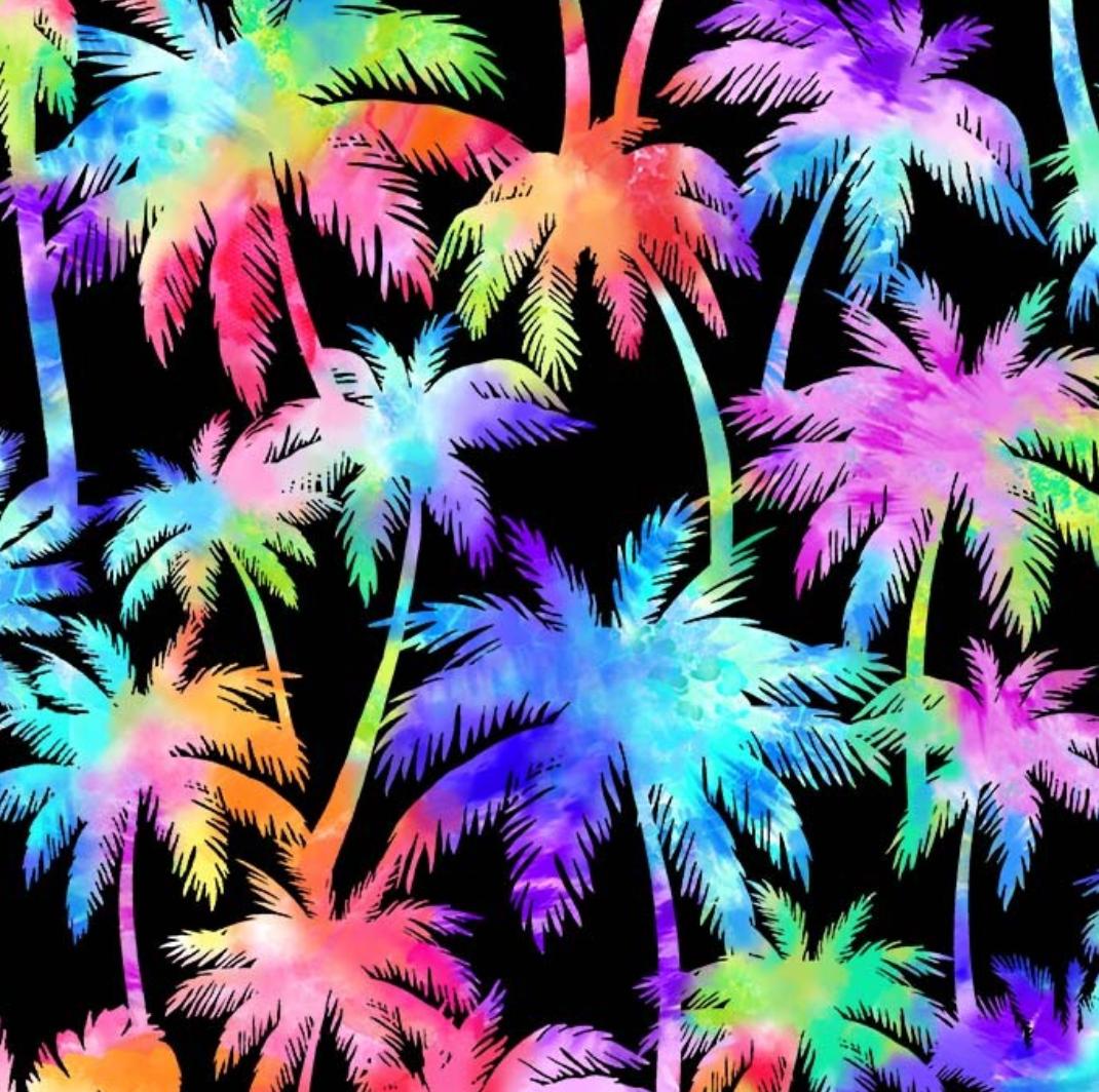 Tie Dye Palm Trees - Black