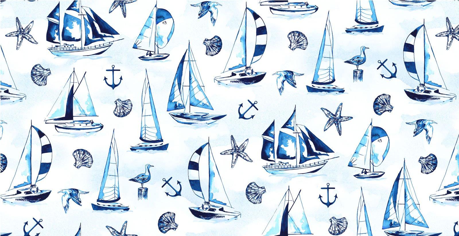 Sailboats & Shells - Navy