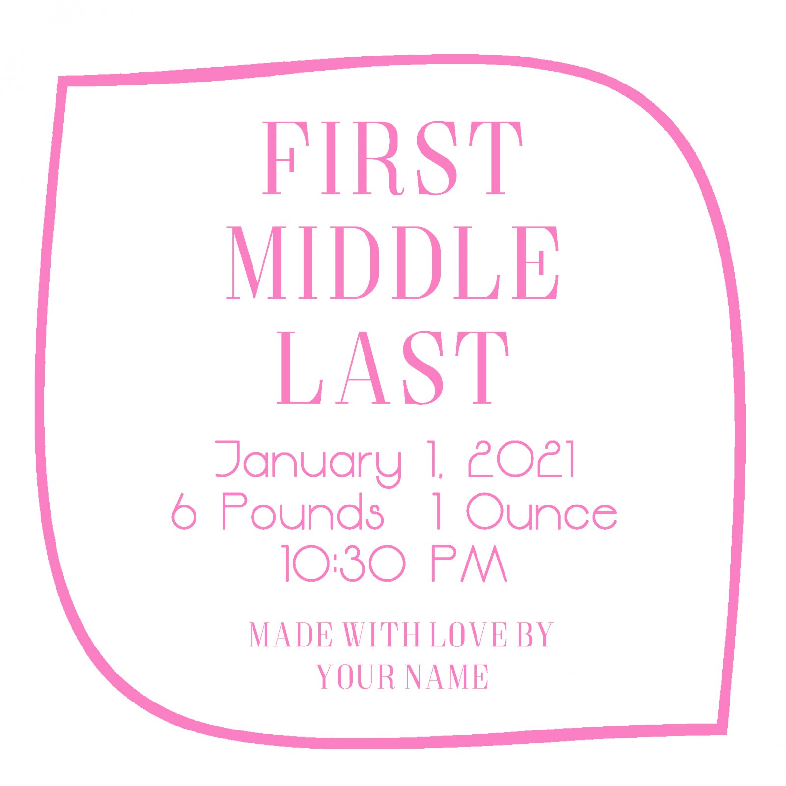 Basic Baby Custom Label Baby Pink